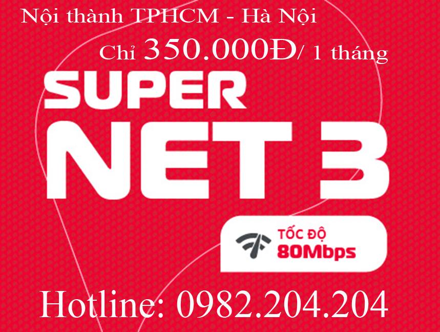 Lắp home wifi Viettel gói Supernet 3 nội thành Hà Nội TPHCM