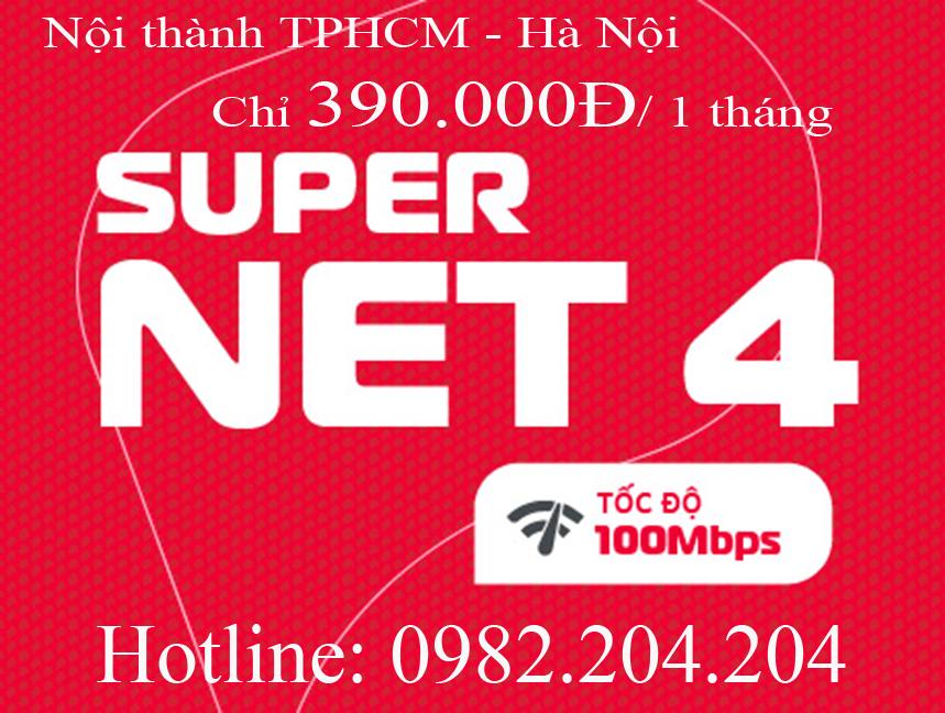 Lắp home wifi Viettel gói Supernet 4 nội thành Hà Nội TPHCM