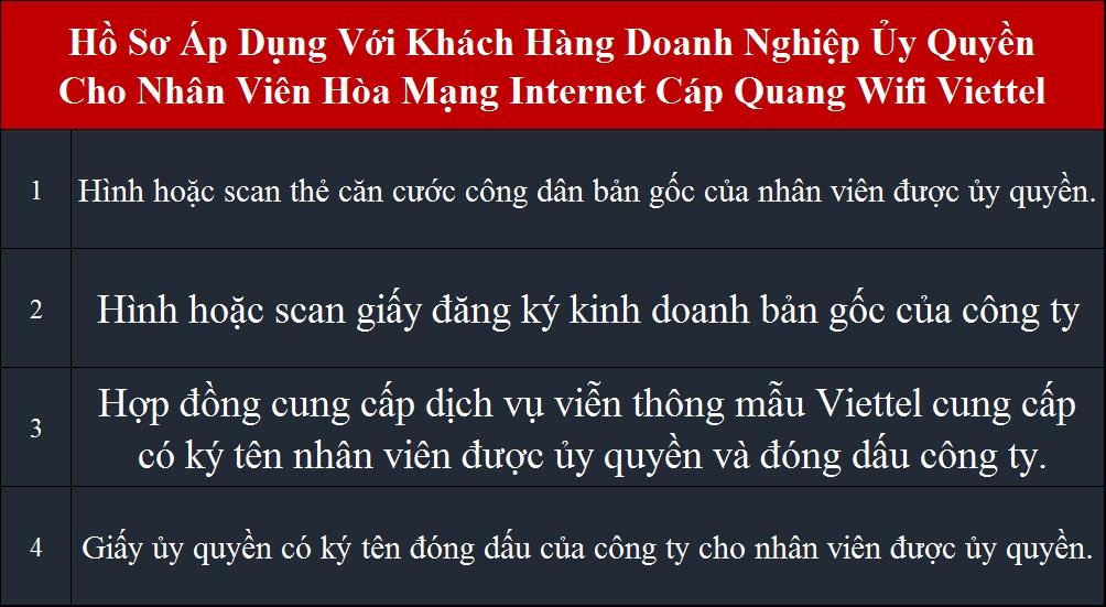 lắp wifi Viettel hồ sơ áp dụng cho doanh nghiệp ủy quyền