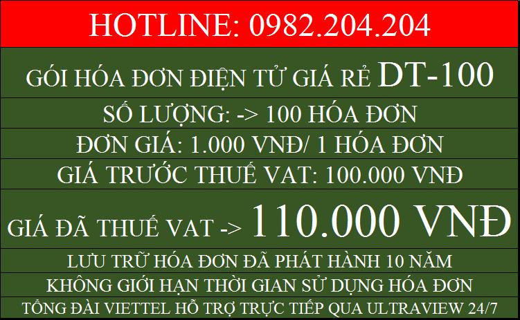Đăng ký hóa đơn điện tử Viettel giá rẻ gói DT100 chỉ 110000
