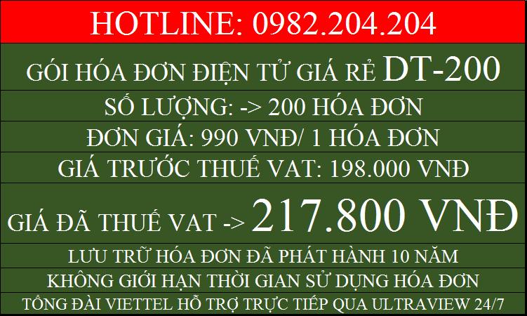 Đăng ký hóa đơn điện tử Viettel giá rẻ gói DT200 chỉ 217800