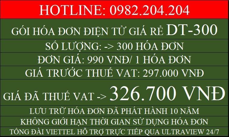 Đăng ký hóa đơn điện tử Viettel giá rẻ gói DT300 chỉ 326700