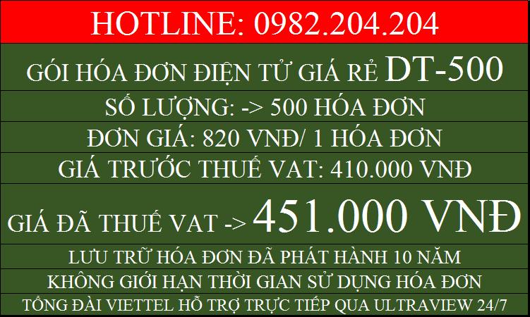Đăng ký hóa đơn điện tử giá rẻ gói DT500 chỉ 451000