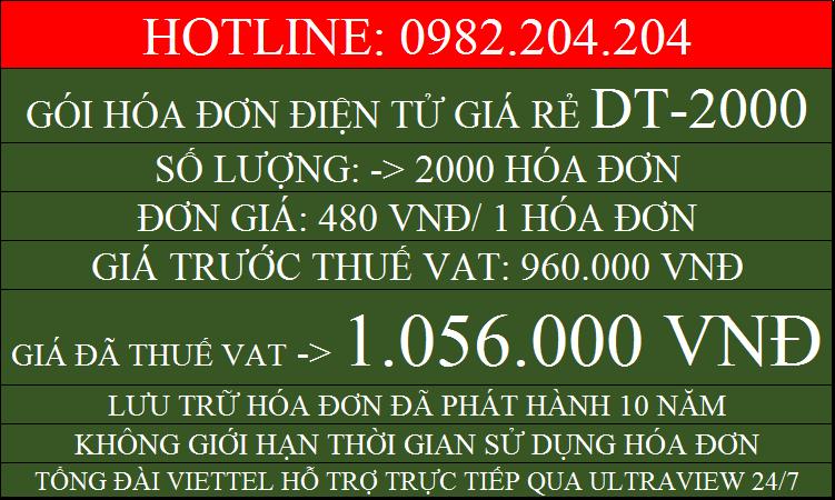 Dịch vụ hóa đơn điện tử Viettel giá rẻ gói DT2000 chỉ 1056000