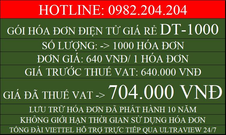 Dịch vụ hóa đơn điện tử giá rẻ gói DT1000 chỉ 704000