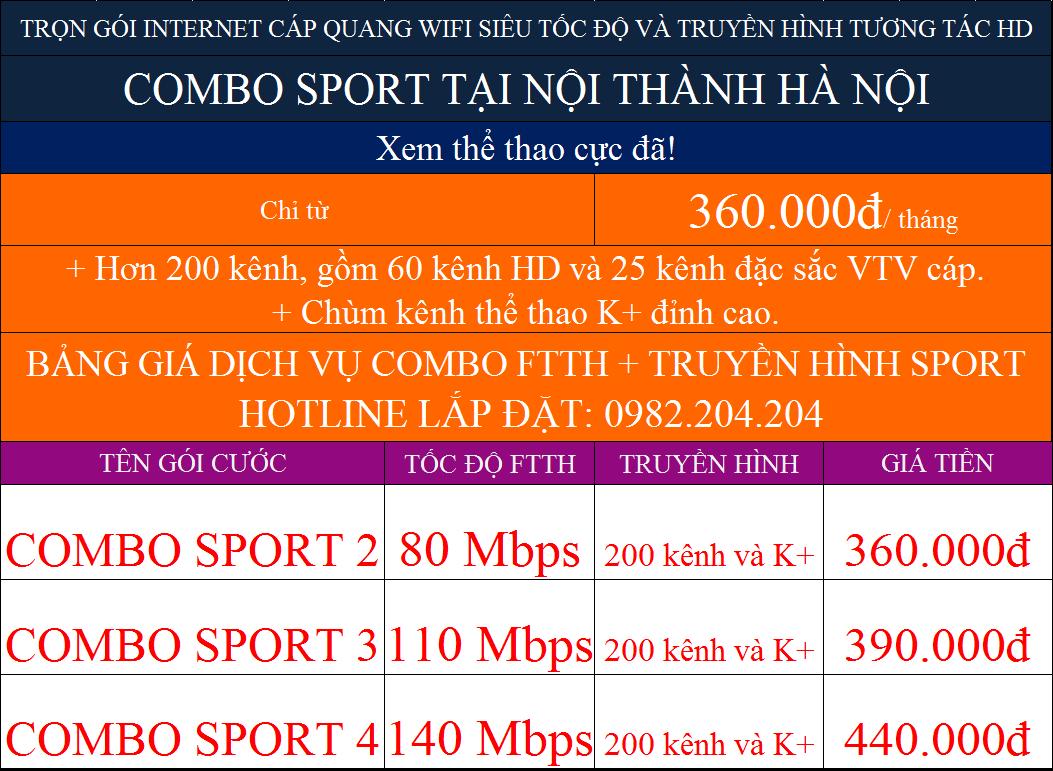 Khuyến mãi combo internet truyền hình K+ Viettel tại nội thành Hà Nội