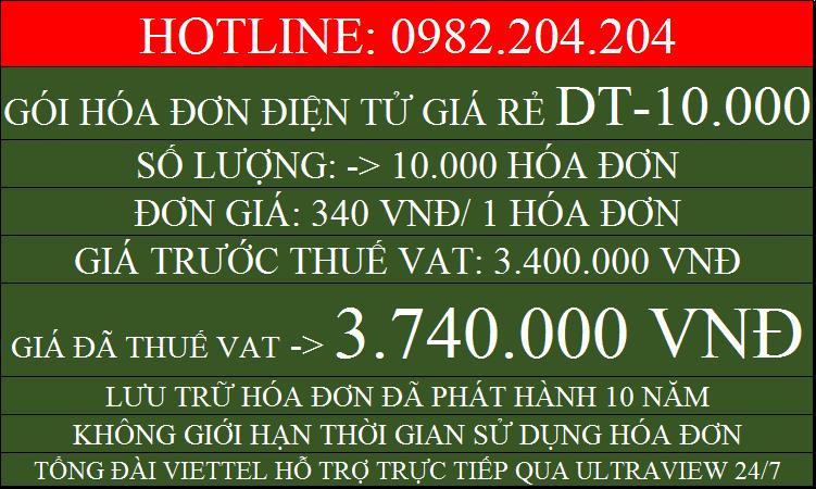 Phần mềm Hóa đơn điện tử Viettel giá rẻ gói DT10000 chỉ 3740000