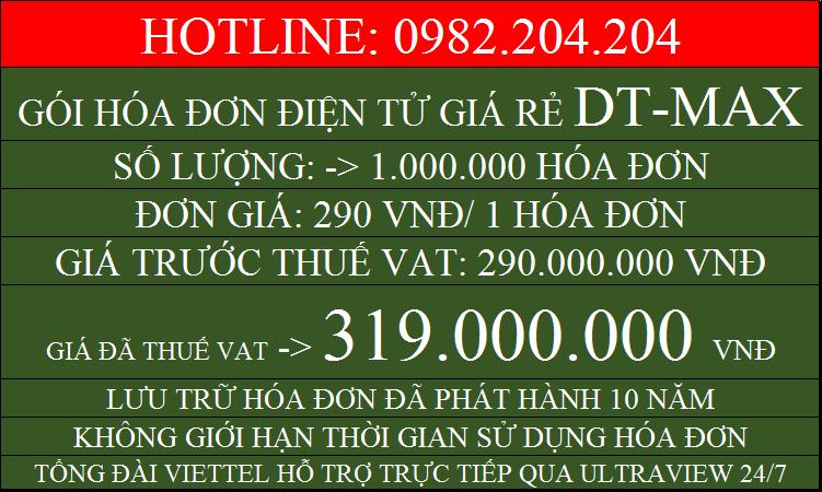 Phần mềm hóa đơn điện tử giá rẻ Viettel gói DTMAX với 1000000 chỉ 319000000