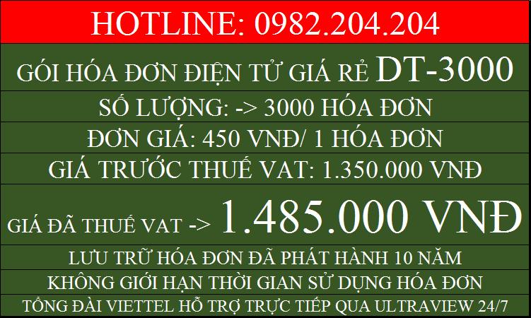 Phần mềm hóa đơn điện tử giá rẻ gói DT3000 chỉ 1485000