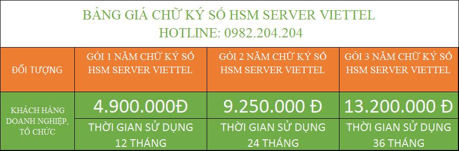 Đăng ký chữ ký số HSM Server Viettel