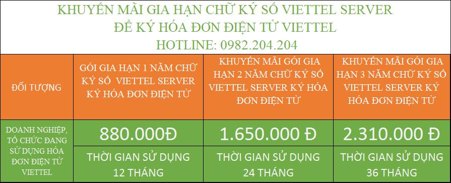 ưu đãi giảm giá gia hạn chữ ký số Viettel Server ký hóa đơn điện tử gói 2 năm 3 năm