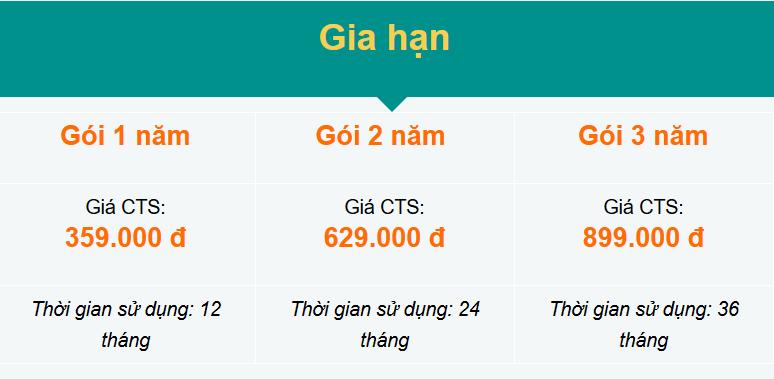 Bảng giá dịch vụ chữ ký số Viettel trên SIM CA cho khách hàng cá nhân đăng ký gia hạn