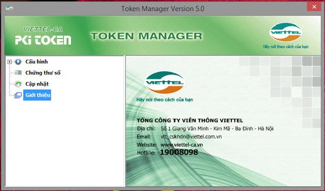 Hình giao hiện ứng dụng token manager Viettel