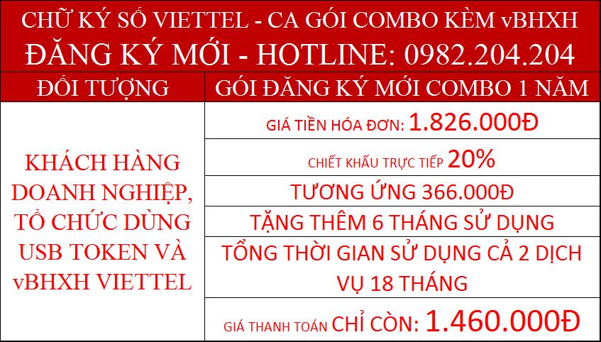 Khuyến mãi combo chữ ký số Viettel và vBHXH gói 1 năm phí chỉ còn 1460000Đ