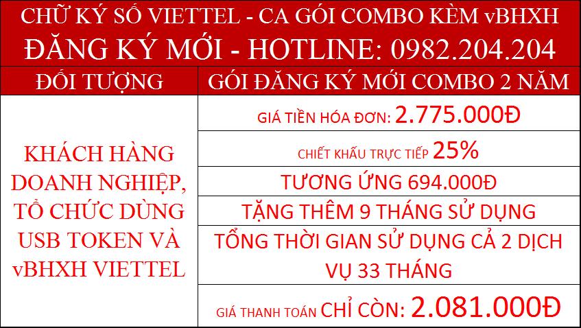 Khuyến mãi combo chữ ký số Viettel và vBHXH gói 2 năm phí chỉ còn 2081000Đ
