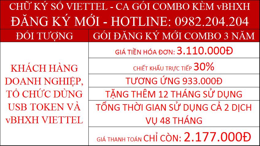Khuyến mãi combo chữ ký số Viettel và vBHXH gói 3 năm phí chỉ còn 2177000Đ