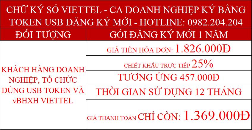 Khuyến mãi dịch vụ chữ ký số Viettel doanh nghiệp ký bằng token gói 1 năm giá chỉ còn 1369000Đ