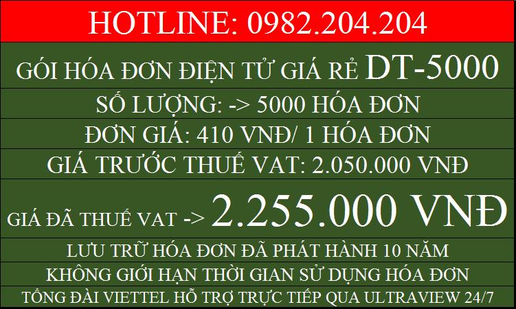 Hóa đơn điện tử Viettel HCM gói DT5000 chỉ 2255000