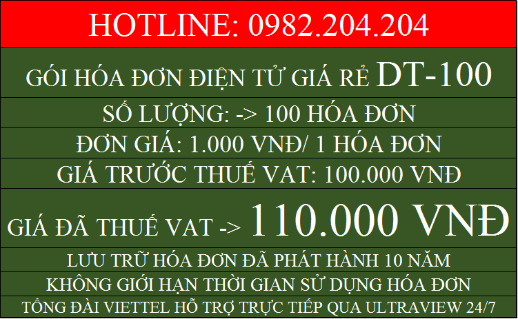 Hóa đơn điện tử TPHCM giá rẻ gói DT100 chỉ 110000