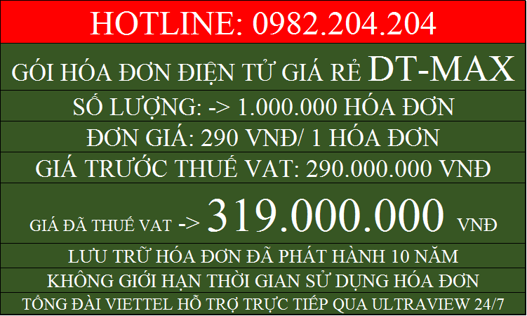 Hóa đơn điện tử HCM gói DTMAX với 1000000 chỉ 319000000