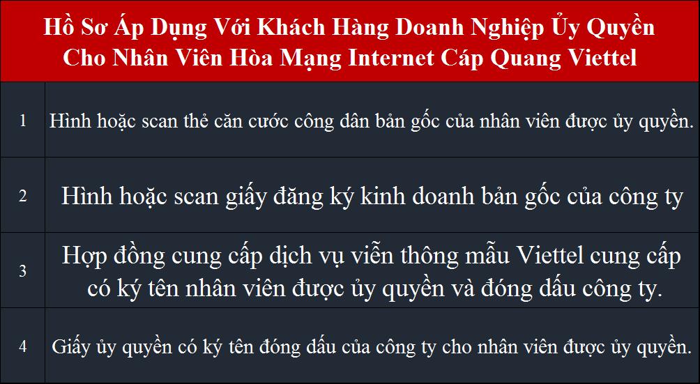 Lắp internet Viettel tại HCM hồ sơ áp dụng cho công ty ủy quyền