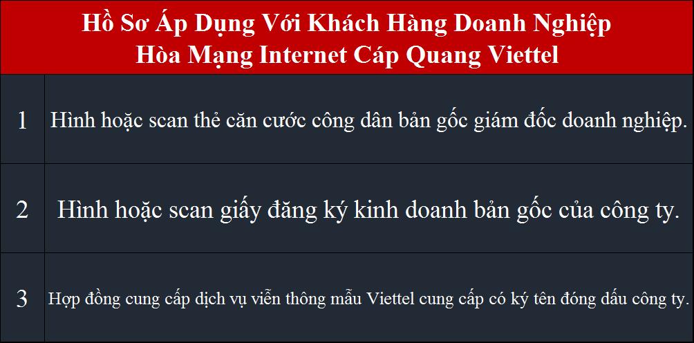 Lắp wifi Viettel HCM hồ sơ áp dụng cho doanh nghiệp