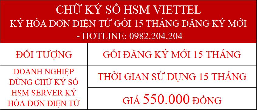 Dịch vụ chữ ký số server chỉ ký hóa đơn điện tử Viettel cấp mới 15 tháng