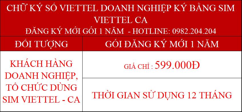 Dịch vụ chứng thực chữ ký số Viettel doanh nghiệp dùng Sim gói 1 năm