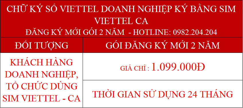 Dịch vụ chứng thực chữ ký số Viettel doanh nghiệp dùng Sim gói 2 năm