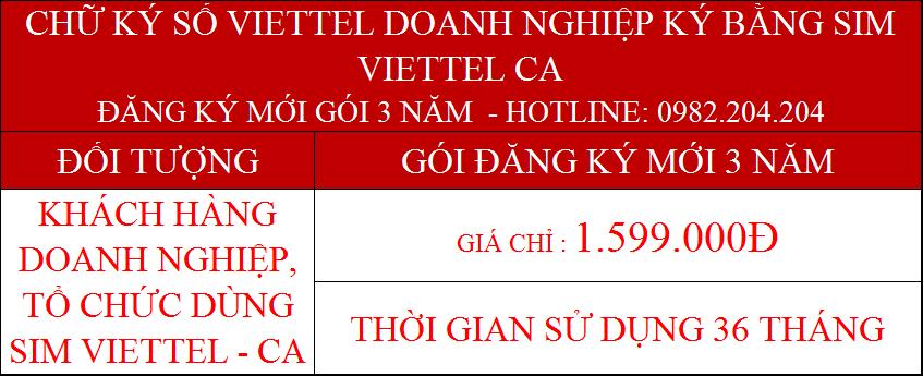 Dịch vụ chứng thực chữ ký số Viettel doanh nghiệp dùng Sim gói 3 năm