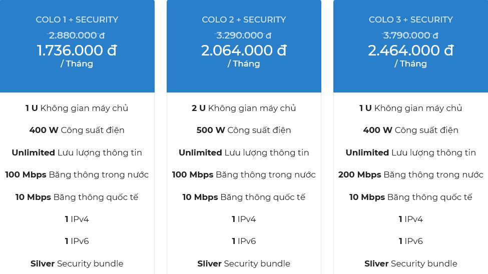 Bảng giá dịch vụ cho thuê chỗ đặt thiết bị Viettel gói Bundle security 1
