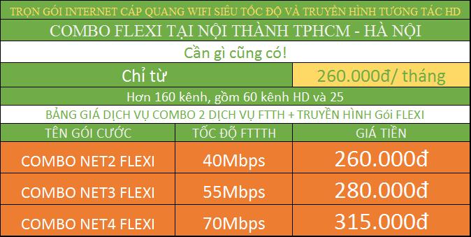 Bảng Giá Các Gói Cước Internet Cáp Quang Wifi Viettel Combo internet và truyền hình nội thành TPHCM Hà Nội