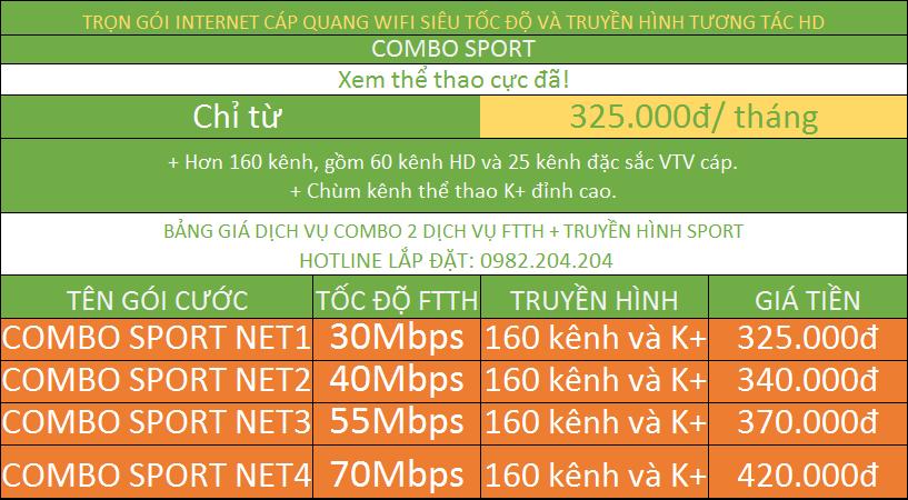 Bảng Giá Mạng Internet Wifi Của Viettel combo internet và truyền hình K+