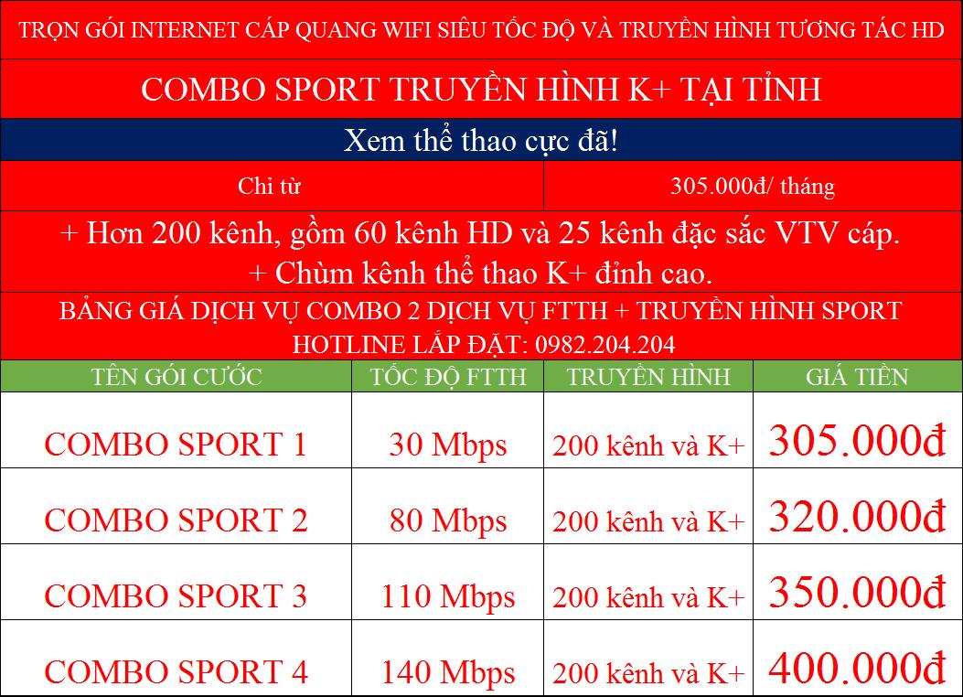 Bảng giá combo internet và truyền hình K+ mạng Viettel toàn quốc