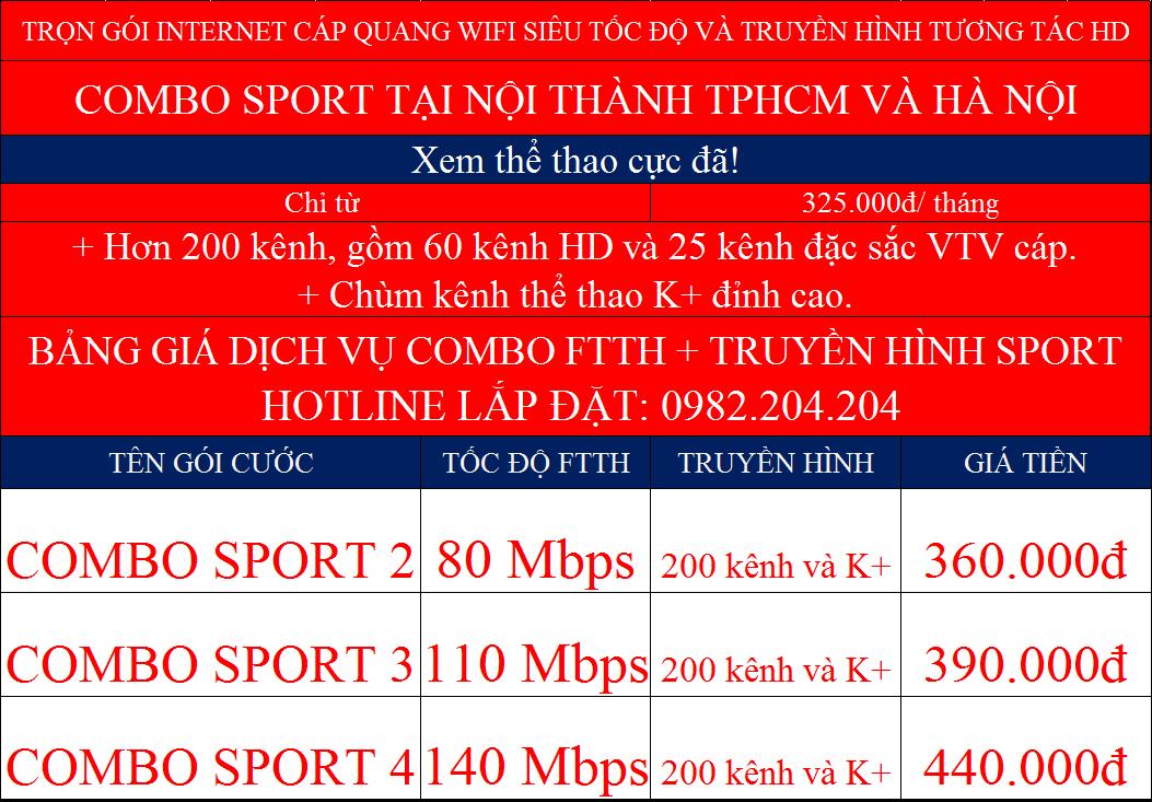 Combo internet wifi Viettel truyền hình K+ nội thành Hà Nội TPHCM