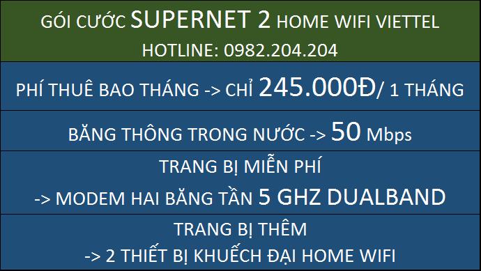 Giá Home wifi Viettel Gói Supernet 2
