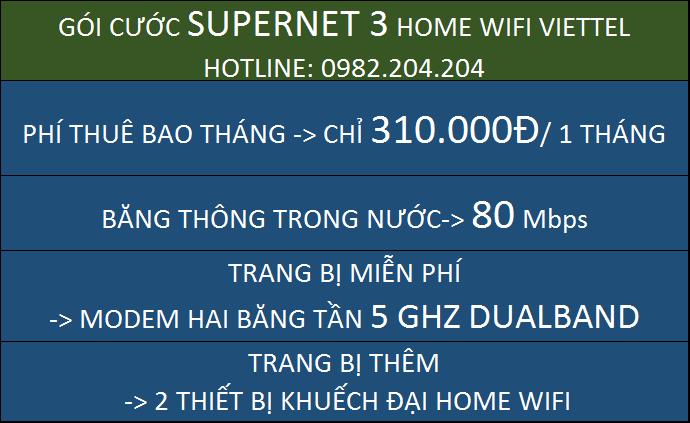 Giá Home wifi Viettel Gói Supernet 3