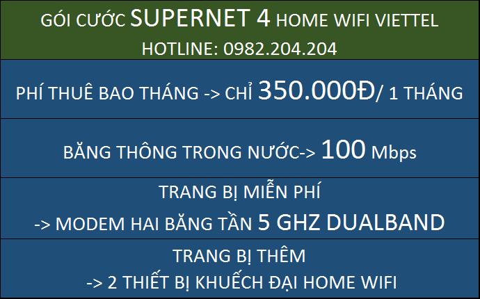 Giá Home wifi Viettel Gói Supernet 4