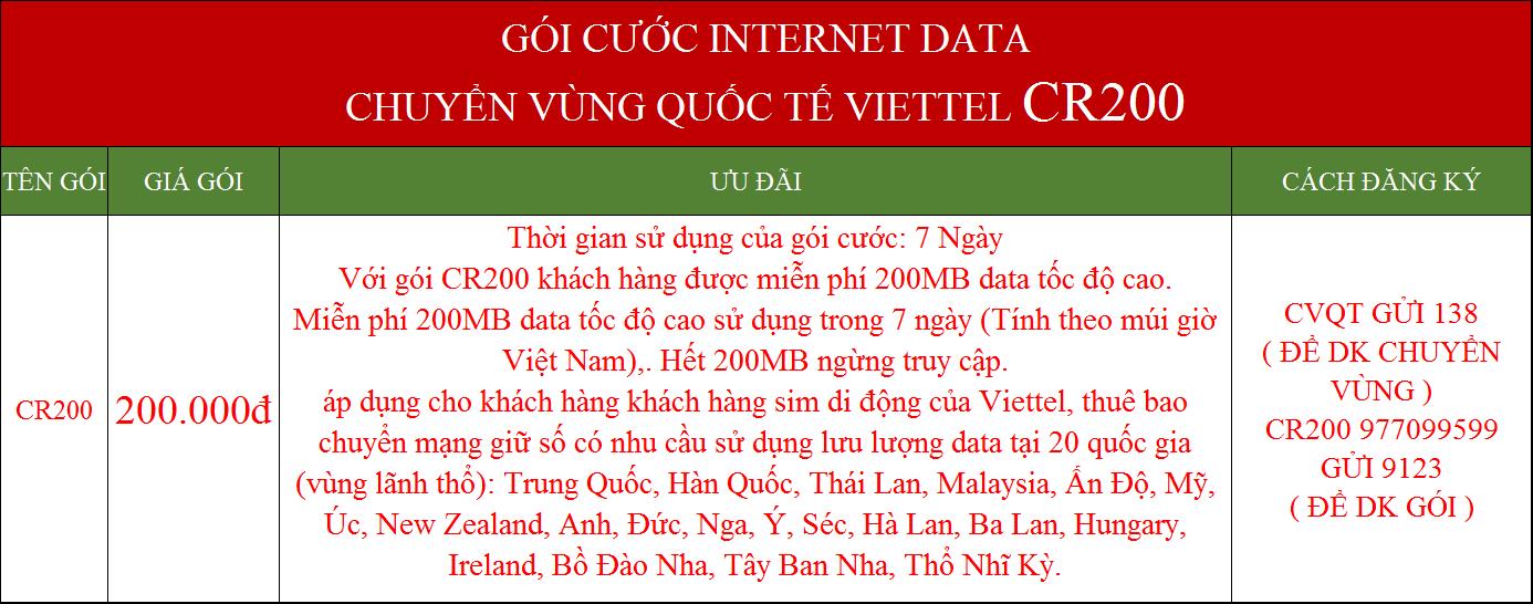 Gói cước data internet Viettel chuyển vùng quốc tế CR200