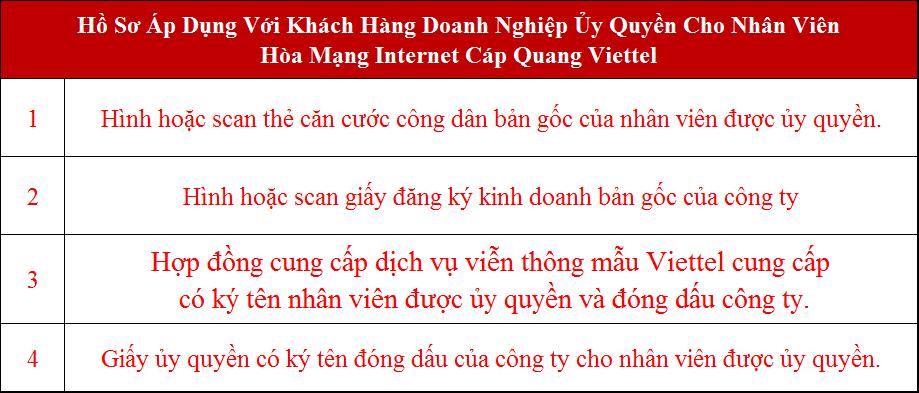 Lắp wifi Viettel Bình Dương Hồ sơ áp dụng với doanh nghiệp ủy quyền đăng ký mạng Viettel