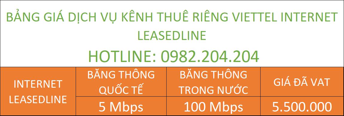 Bảng giá dịch vụ internet leasedline Viettel Đồng Nai