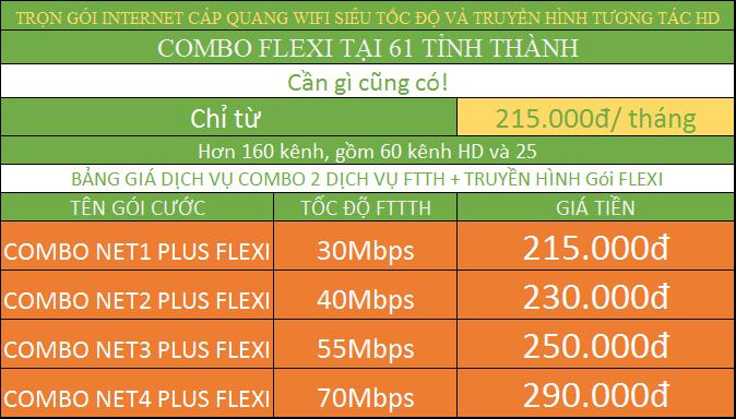 Bảng giá các gói combo internet FTTH cáp quang và truyền hình tại tỉnh.