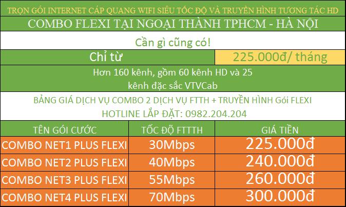 Bảng giá đăng ký mạng internet Viettel và hình gói combo tại ngoại thành TPHCM và Hà Nội.