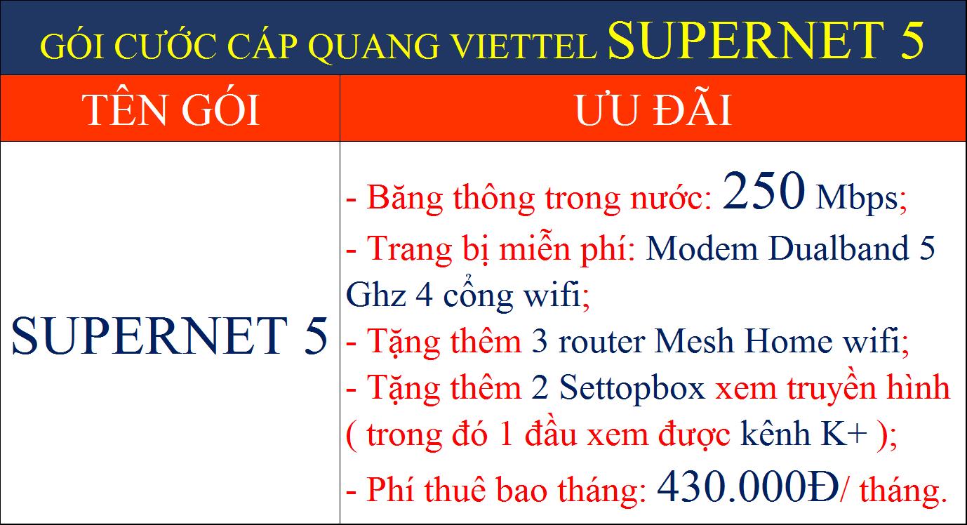 Gói cước cáp quang Viettel Supernet 5
