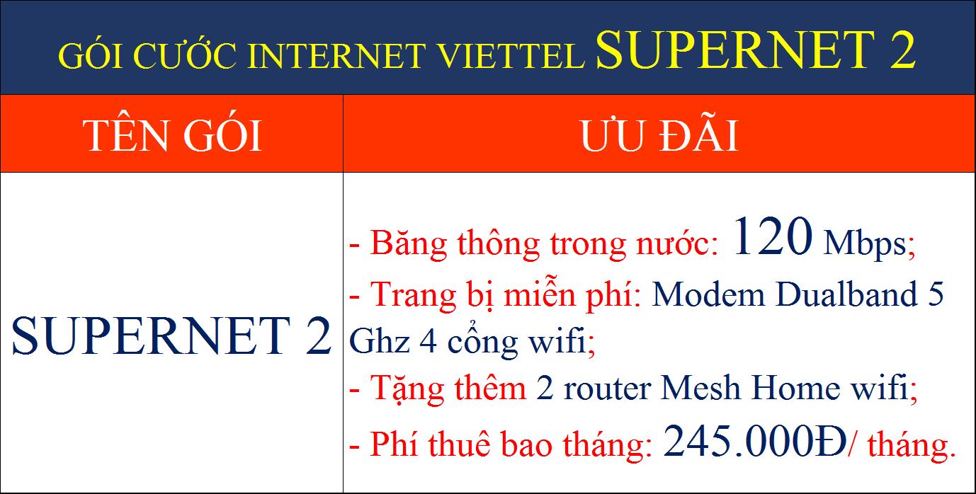 Gói cước internet Viettel Supernet 2