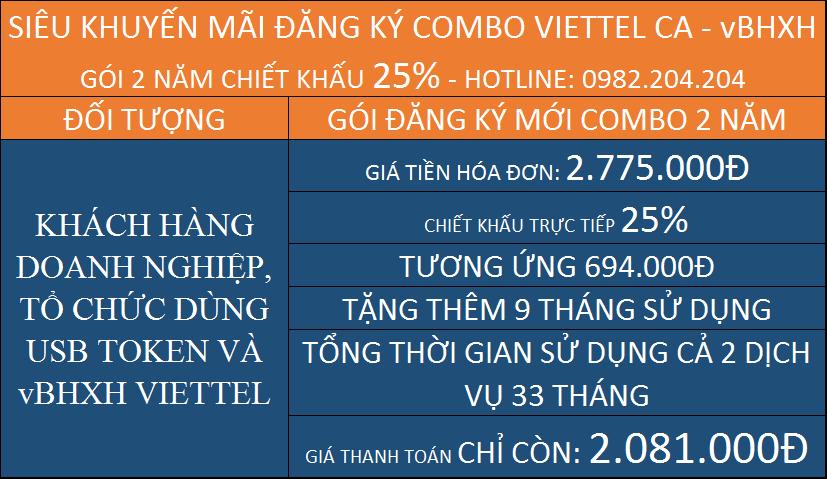Chữ ký số Viettel gói combo kèm vBHXH 2 năm
