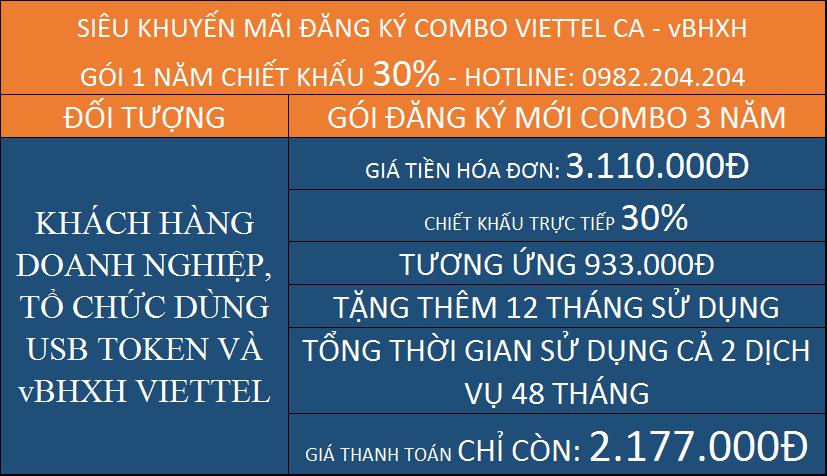 Chữ ký số Viettel gói combo kèm vBHXH 3 năm