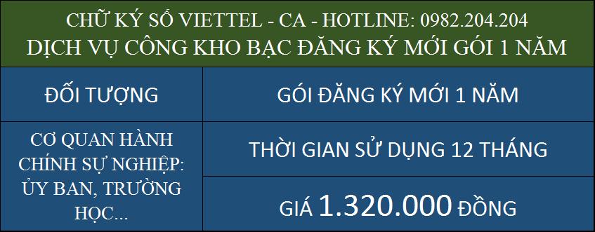 Dịch vụ chữ ký số Viettel kho bạc đăng ký mới gói 1 năm