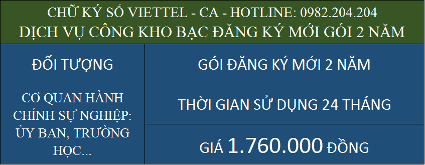 Dịch vụ chữ ký số Viettel kho bạc đăng ký mới gói 2 năm