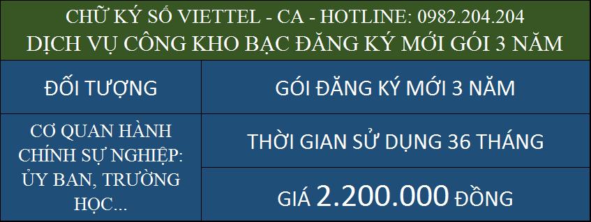 Dịch vụ chữ ký số Viettel kho bạc đăng ký mới gói 3 năm